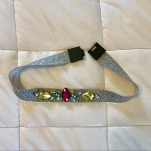 H&M colorful jeweled silver metallic stretch belt